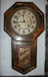 Antique Victorian Regulator Wall Clock 26 in Complete not Running