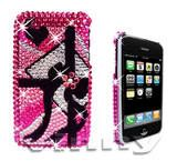 Pink Zebra Stripes Diamond Bling Case for iPhone 3G 3GS
