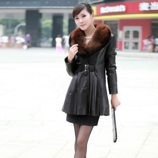QD11865 Real Mink Fur and Sheep Leather Coats Jackets with Fox Collar