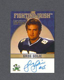 Greg Golic Signed Notre Dame TK Legacy Card