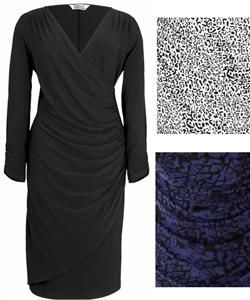 Simply Be Wrap Dress 26 30 Black Purple Animal Plus Size Luxury Jersey