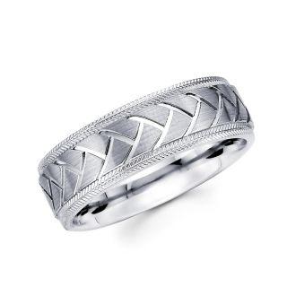 14k Solid White Gold Plain Wedding Band Ring 4mm Sz 11
