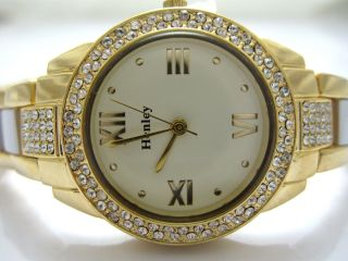Henley Diamante Watch Gold White Band White Face New Design H304