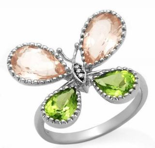 10K White Gold Peridot, Pink Quartz & Diamond Butterfly Ring