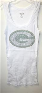 Green Bay Packers Bling Womens Tank Top CLEARANCE Sale 1 Cent XL 2X
