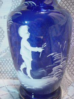 Antique Mary Gregory Cobalt Blue Vase Walking Boy ope C 1900