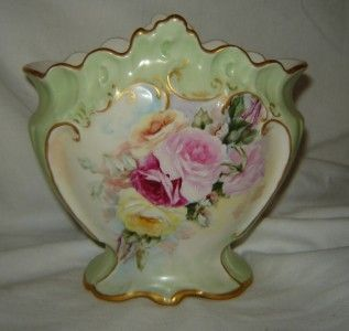 LIMOGES France Gold rimmed Rose Vase hand pained daed 1896 green