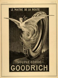 1920 Ad French Goodrich Tire Master Road Angel Art Deco   ORIGINAL