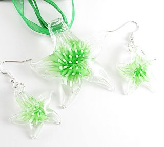 Lucency Green Flower Starfish Murano Glass Pendant Necklace Dangle