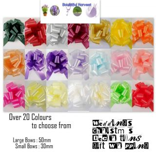 Gift Wrapping Bows 24 Different Colours 30mm or 50mm Pullbows Large or