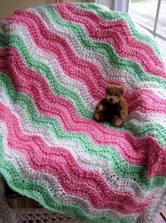 Baby Blanket Crochet Handmade Afghan Lion Brand Homespun Yarn Ripple