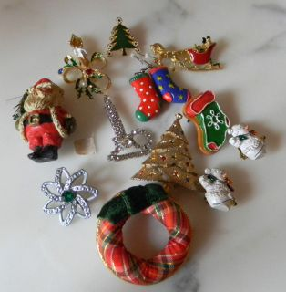 Christmas Gold Silver Rhinestones Enamel Brooches Earrings Pins