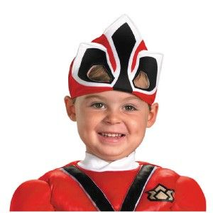 Boys Power Rangers Samurai Muscle Gold Red Ranger Costume Size 2T 3 4T
