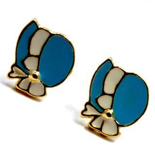 Gold 18K GF Sun Bonnet Hat Turquoise Enamel Earrings Girl Toddler