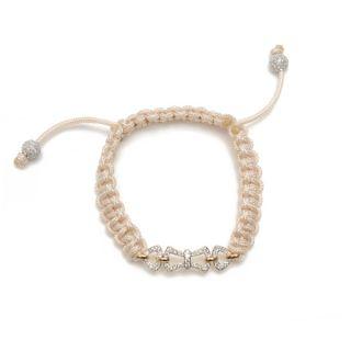 18K White Gold Diamond Pave Macrame Shamballa Type Bracelet Jewelry