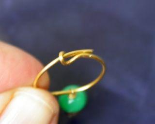 22k Yellow Gold Ear Wire 14k Gold Ball Green Stone Gypsy Hoop Earrings