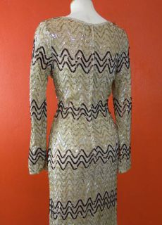 Vtg Metallic Gold Crochet Knit Sequin Goddess Boho Bombshell Dress Set