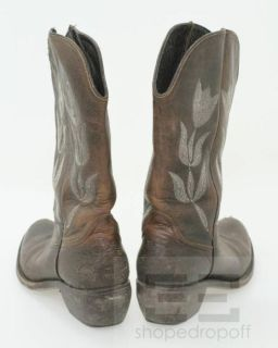 Golden GOOSE Deluxe Brand Brown Distressed Leather Womens Cowboy