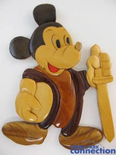 Disney Mickey Mouse Fencing Gordon King Wood Mosaic Wall Sculpture Art