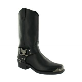 Grinders Eagle Hi Cowboy Biker Black Leather Boots