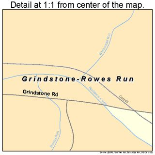 Grindstone Rowes Run Pennsylvania Street Road Map PA