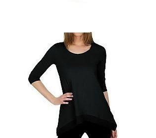 Lori Goldstein Asymmetrical Hem T Shirt Chiffon Trim Black XS