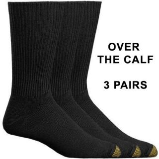 GoldToe 3 Pairs Mens OVER THE CALF Cotton Dress Socks Black Gold Toe