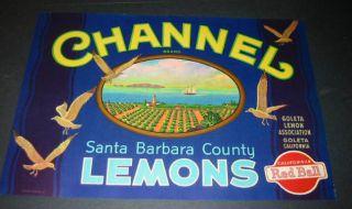 10 Old 1930s Channel Santa Barbara Lemon Crate Labels