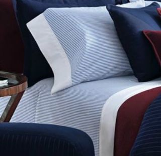 Ralph Lauren Greenwich Modern Queen Sheet Set Blue White Stripe