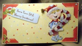 Handmade Greeting Card Merry Christmas Elf Money Holder