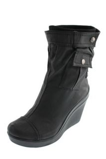 DKNY NEW Gillian Black Coated Canvas Pocket Ankle Boots Wedges Shoes 8