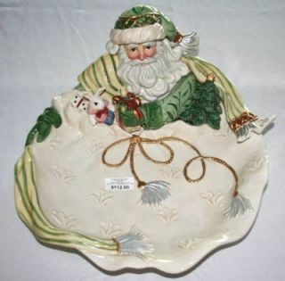 Fitz Floyd Gregorian Santa Christmas Serving Bowl Platebox New w O Box