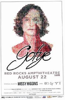 Gotye Missy Higgins Red Rocks 2012 Concert Poster