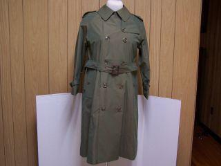 Womens NWT Grenfell Francesca Trench Coat Jacket Iridescent Green Coat