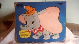 Vintage Playskool Disney Dumbo Wooden Puzzle