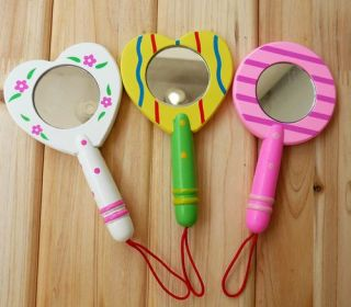 One Wooden Makeup Compact Mirror Girl Kids Favor MIR001