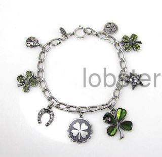 Catherine Popesco Good Luck Charms Silver Bracelet with Swarovski