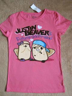 Justin Beaver Bieber Future Girlfriend Funny Pink Tee T Shirt Sz 10 12