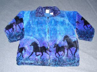 Girls Horse Fleece Jacket Size 4 5 Horses Riding Hobby