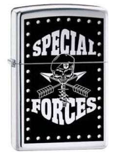 Army Special Forces Death Skull Emblem Military Chrome Zippo Lighter