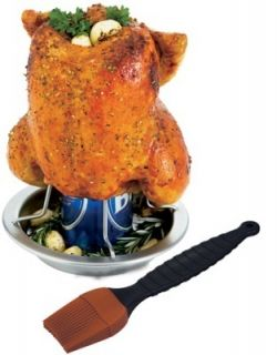 Grill Pro Stainless Steel Beer Can Chicken Roaster 41333 New Upright