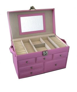 Purple velvet 12 compartment jewelry show box case tray for Girls large jewelry box