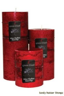 GOOSE Creek Tri Colored Pillar Candle Red Hot Cinnamon Scent Pick Size