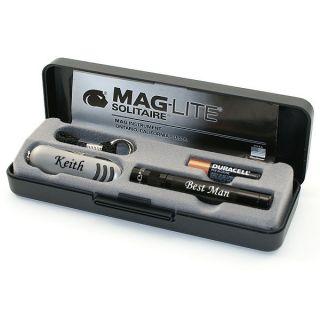 Engraved Mini Maglite Knife Set Great Groomsmen Gift