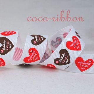Valentine Mommy Mom Daddy Loves Me Heart Grosgrain Ribbon U Pick