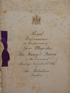 Royal Variety Performance Programme Gracie Fields Max Miller