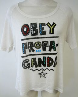 OBEY CLOTHING TRIBAL PROPAGANDA GIRLS CROPPED TEE SHIRT BURNOUT FONT