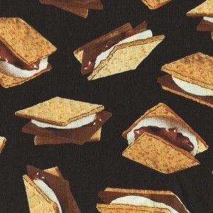 mores Graham Cracker Chocolate Blk Cotton Fabric BTY for Quilting