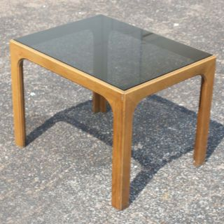 27 Vintage Wood and Glass Side End Table