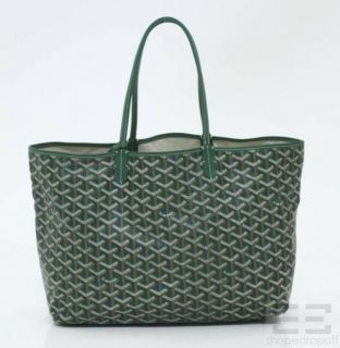 Goyard Green Chevron Coated Canvas St Louis PM Tote Bag